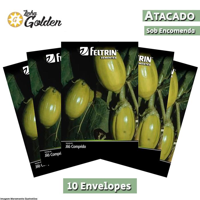 10 Envelopes - Sementes de Jiló Comprido Grande Rio - Atacado - Feltrin - Linha Golden