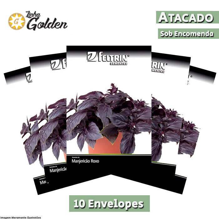 10 Envelopes - Sementes de Manjericão Fenix - Atacado - Feltrin - Linha Golden
