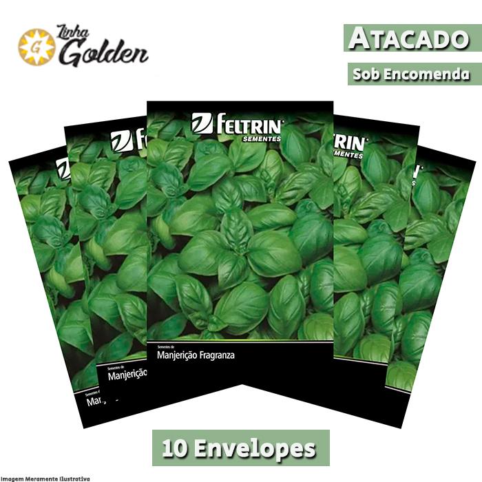 10 Envelopes - Sementes de Manjericão Fragranza - Atacado - Feltrin - Linha Golden