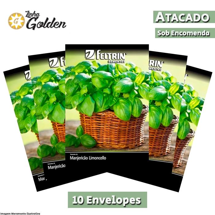 10 Envelopes - Sementes de Manjericão Limoncello - Atacado - Feltrin - Linha Golden