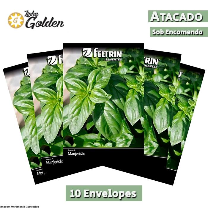10 Envelopes - Sementes de Manjericão Manolo - Atacado - Feltrin - Linha Golden