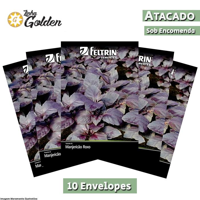 10 Envelopes - Sementes de Manjericão Roxo - Atacado - Feltrin - Linha Golden