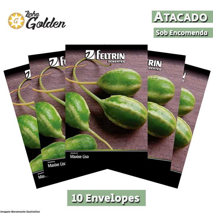 10 Envelopes - Sementes de Maxixe Liso Calcutá - Atacado - Feltrin - Linha Golden