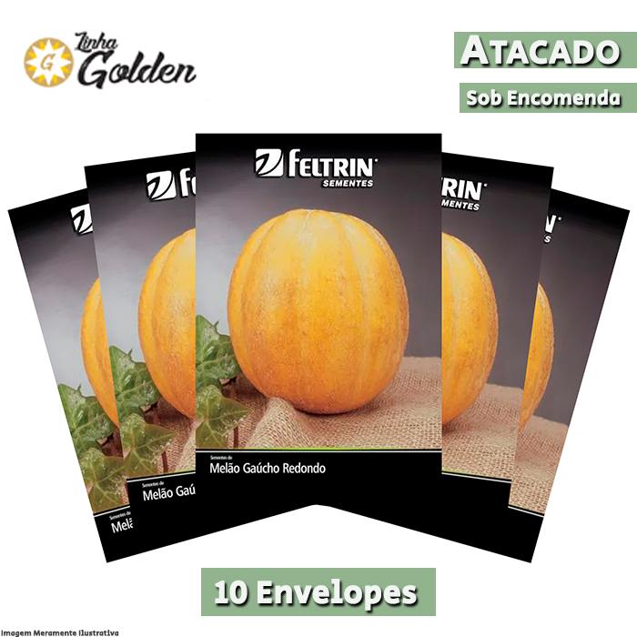 10 Envelopes - Sementes de Melão Gaúcho Conesul - Atacado - Feltrin - Linha Golden