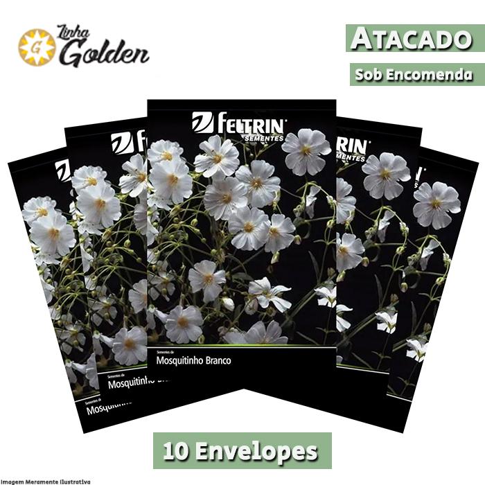 10 Envelopes - Sementes de Mosquitinho Branco - Atacado - Feltrin - Linha Golden