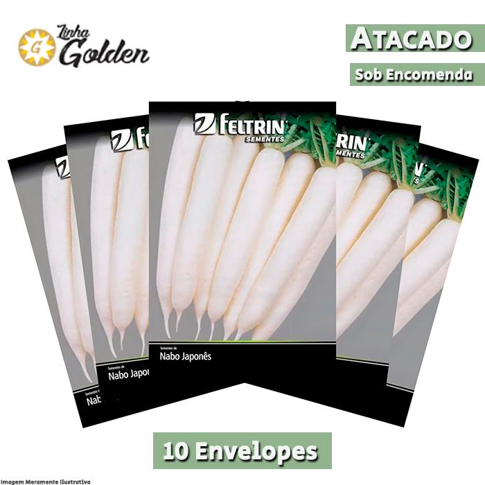 10 Envelopes - Sementes de Nabo Japonês Minowase - Atacado - Feltrin - Linha Golden