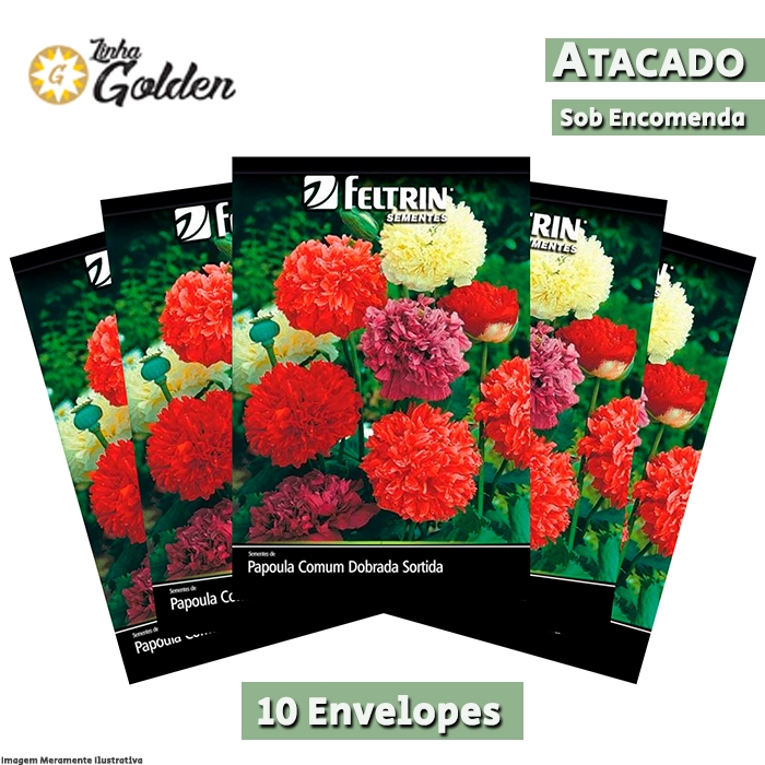 10 Envelopes - Sementes de Papoula Comum Dobrada Sortida - Atacado - Feltrin - Linha Golden