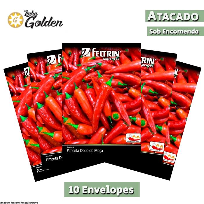 10 Envelopes - Sementes de Pimenta Cayenne / Caiena / Dedo de Moça - Atacado - Feltrin - Linha Golden