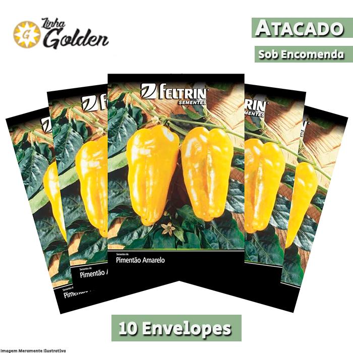 10 Envelopes - Sementes de Pimentão Amarelo SF - Atacado - Feltrin - Linha Golden