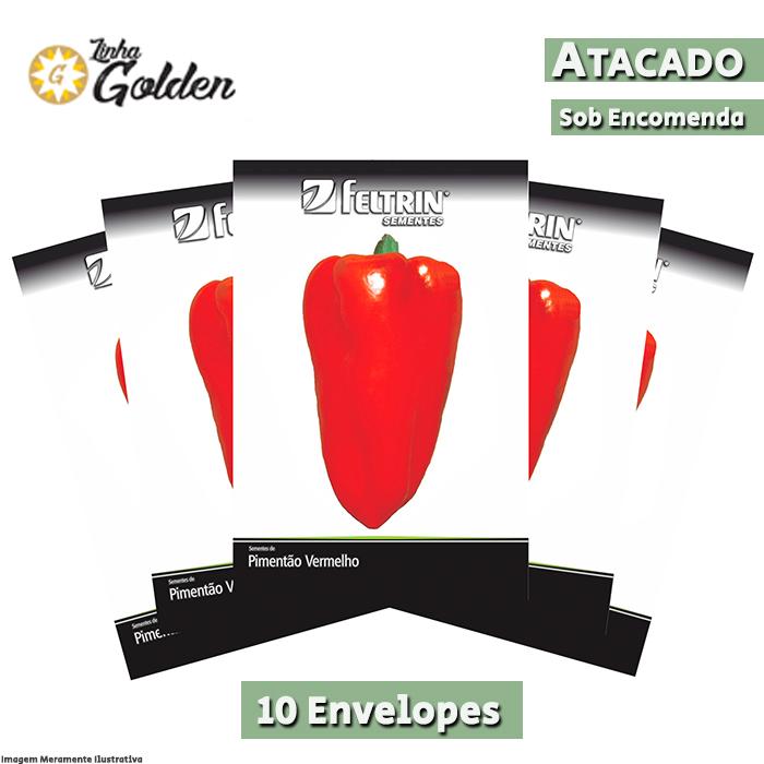 10 Envelopes - Sementes de Pimentão Rubi - Atacado - Feltrin - Linha Golden