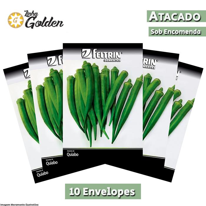 10 Envelopes - Sementes de Quiabo Santa Cruz 47 - Atacado - Feltrin - Linha Golden