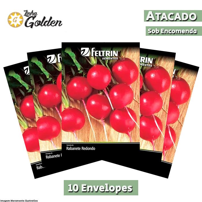 10 Envelopes - Sementes de Rabanete Crimson Gigante - Atacado - Feltrin - Linha Golden