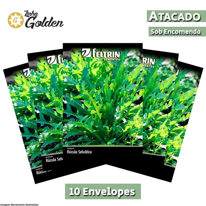 10 Envelopes - Sementes de Rúcula Bella - Atacado - Feltrin - Linha Golden