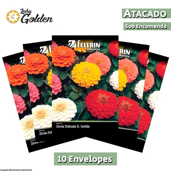 10 Envelopes - Sementes de Zinnia Dobrada Sortida - Zinnia Dahliaflora - Atacado - Feltrin - Linha Golden