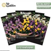 10 envelopes - Sementes de Amor-Perfeito Sortido Mini - Atacado - Feltrin - Linha Golden