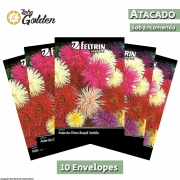 10 Envelopes - Sementes de Aster-da-China Buquê Sortida Unicum - Atacado - Feltrin - Linha Golden
