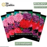 10 Envelopes - Sementes de Aster-da-China ou Pluma de Avestruz Dobrada Sortida - Atacado - Feltrin - Linha golden