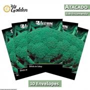 10 Envelopes - Sementes de Brócolis Calabrês De Cabeça - Atacado - Feltrin - Linha Golden