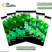 10 Envelopes - Sementes de Coentro Verdão - Atacado - Feltrin - Linha Golden
