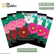 10 Envelopes - Sementes de Cosmos-de-Jardim Cosmea Sensação Sortida - Atacado - Feltrin - Linha Golden