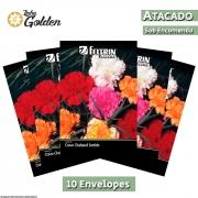 10 Envelopes - Sementes de Cravo Gigante Sortido - Atacado - Feltrin - Linha Golden