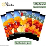 10 Envelopes - Sementes de Papoula da Califórnia Sortida - Atacado - Feltrin - Linha Golden