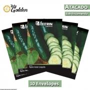 10 Envelopes - Sementes de Pepino Verde Comprido - Atacado - Feltrin - Linha Golden