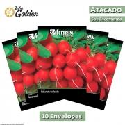 10 Envelopes - Sementes de Rabanete Vip Crimson - Atacado - Feltrin - Linha Golden