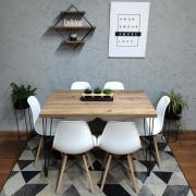 Mesa de Jantar Antiqua 90x140 Hairpin Legs com 6 Cadeiras Eames Brancas