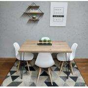 Mesa de Jantar Antiqua Hairpin Legs com 4 Cadeiras Eames Brancas