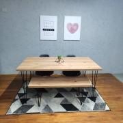 Mesa de Jantar e Banco Antiqua com Hairpin Legs e Tampo 100% MDF 30 mm