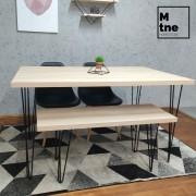 Mesa de Jantar e Banco Faia com Hairpin Legs e Tampo 100% MDF