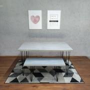 Mesa de Jantar e Banco Santorini com Hairpin Legs e Tampo 100% MDF