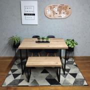 Mesa de Jantar Industrial Antiqua Squared Legs com Banco e Duas Cadeiras Pretas