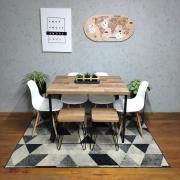 Mesa de Jantar Industrial Western 90 x 140 Squared Legs com 2 Banquinhos e 4 Cadeiras Brancas