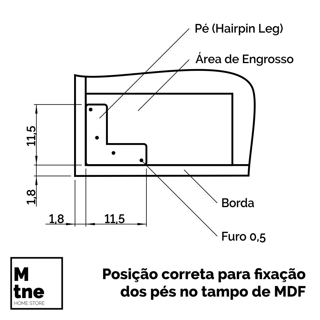 Aparador Faia com Hairpin Legs e Tampo 100 % MDF  - Mtne Store