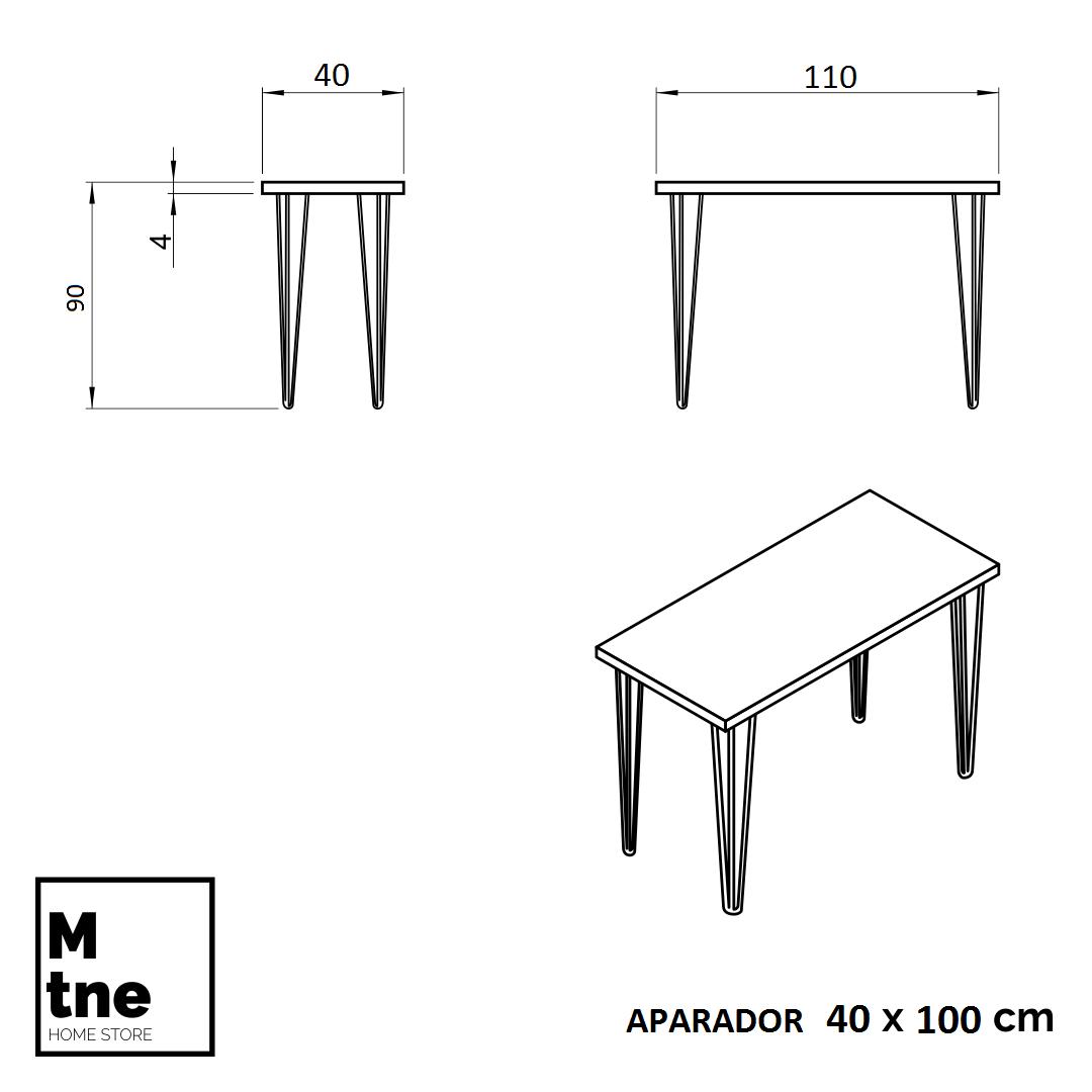Aparador Mezzo 40x120 com Hairpin Legs e Tampo 100 % MDF  - Mtne Store
