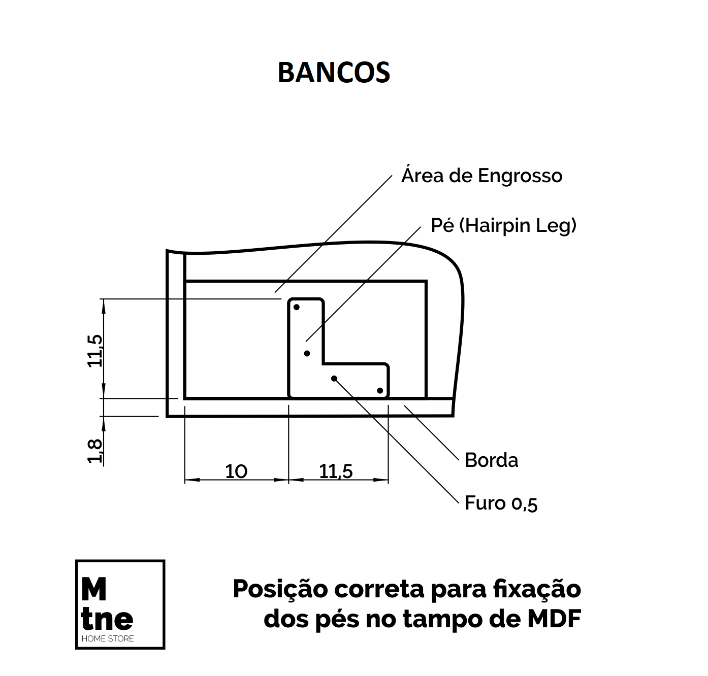 Banco Faia com Hairpin Legs e Tampo 100% MDF  - Mtne Store