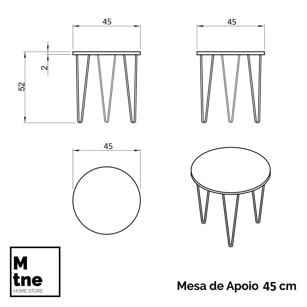Conjunto de Mesas de Apoio Cânion Rústico com Hairpin Legs e Tampo 100% MDF  - Mtne Store