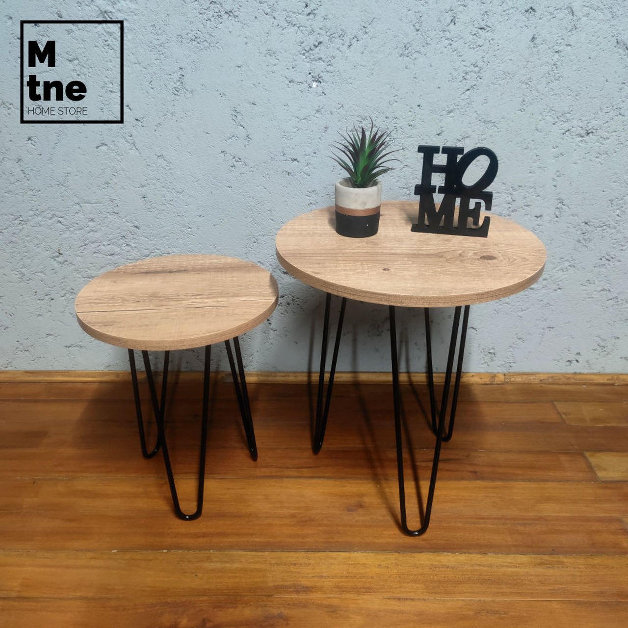 Conjunto de Mesinhas de Apoio Redondas com Hairpin Legs e Tampo 100% MDF Antiqua  - Mtne Store