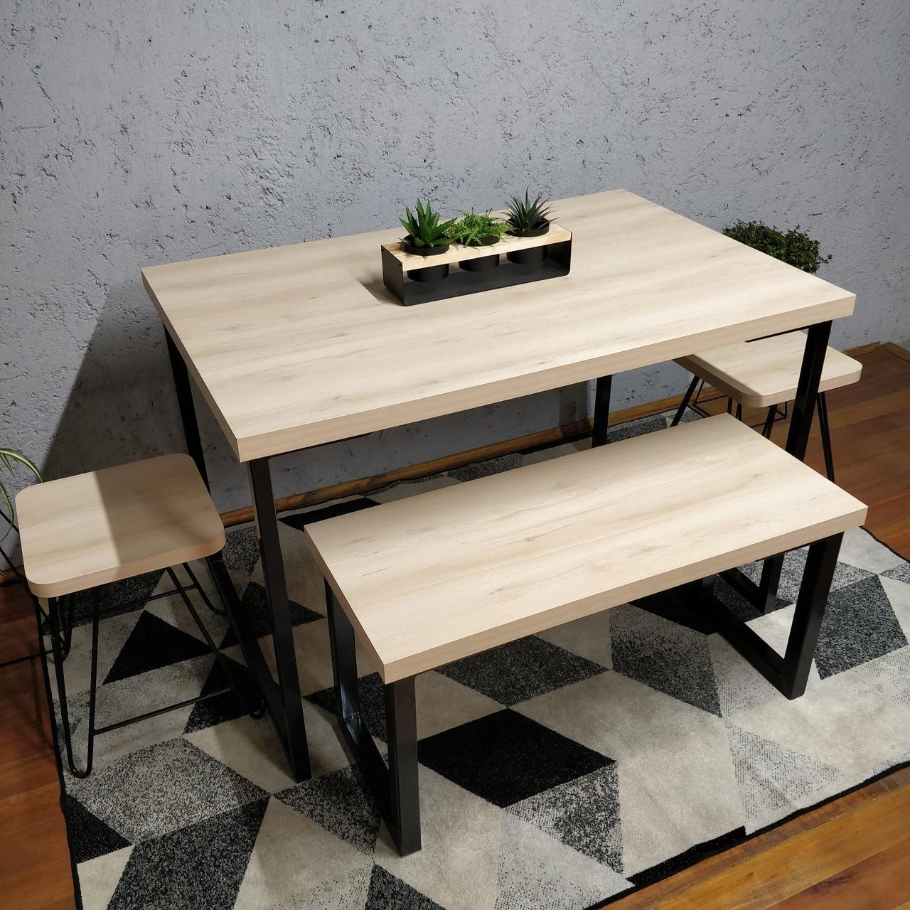 Conjunto Mesa Jantar com Banco e Banquinhos Faia com Squared Legs e Tampo 100% MDF  - Mtne Store