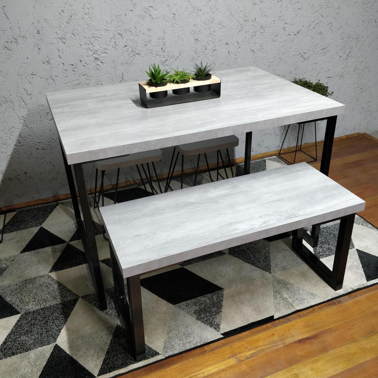 Conjunto Mesa Jantar com Banco e Banquinhos Santorini com Squared Legs e Tampo 100% MDF  - Mtne Store