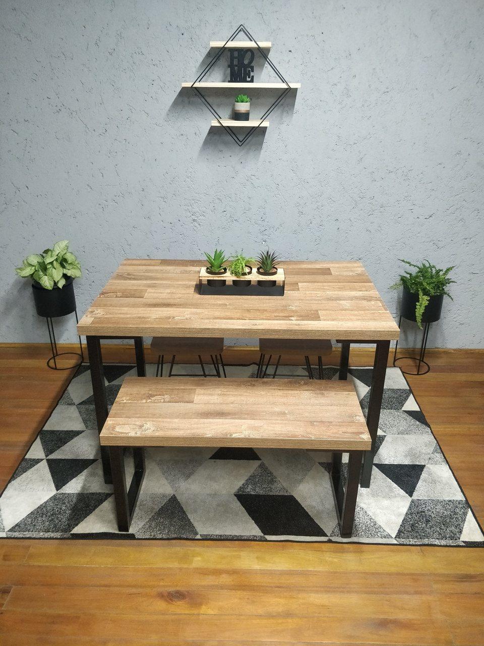 Conjunto Mesa Jantar 4 lugares com Banco e Banquinhos Western com Squared Legs e Tampo 100% MDF  - Mtne Store