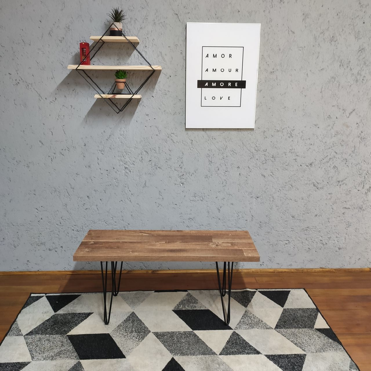 Conjunto Mesa Jantar 6 lugares com Banco e Banquinhos Western com Squared Legs e Tampo 100% MDF  - Mtne Store