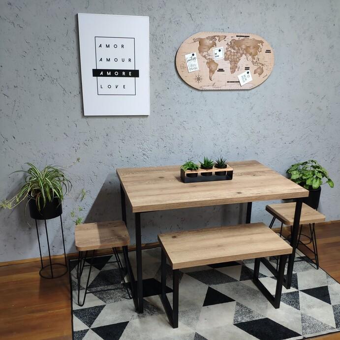 Conjunto Mesa Jantar com Banco e Banquinhos Antiqua com Squared Legs e Tampo 100% MDF  - Mtne Store