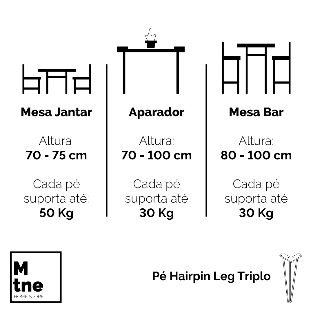 Kit 9 Conjuntos Pé Hairpin Legs 75 cm Triplos + 2 Conjuntos 90 cm Triplos  - Mtne Store