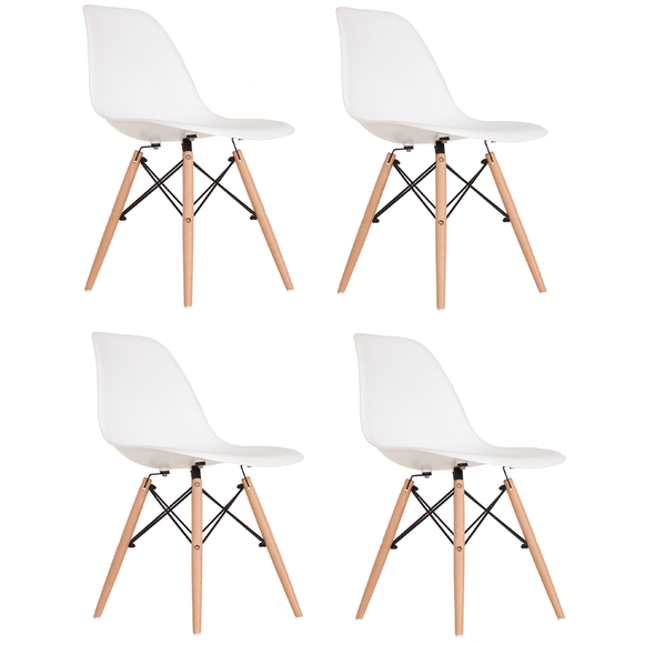 Kit 4 Cadeiras Eames Eiffel DSW - Branca