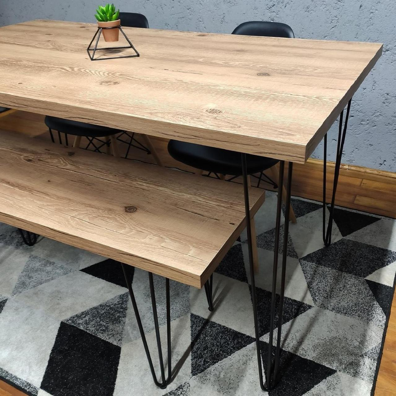 Mesa de Jantar 80x110 e Banco 40x60 Antiqua com Hairpin Legs e Tampo 100% MDF  - Mtne Store