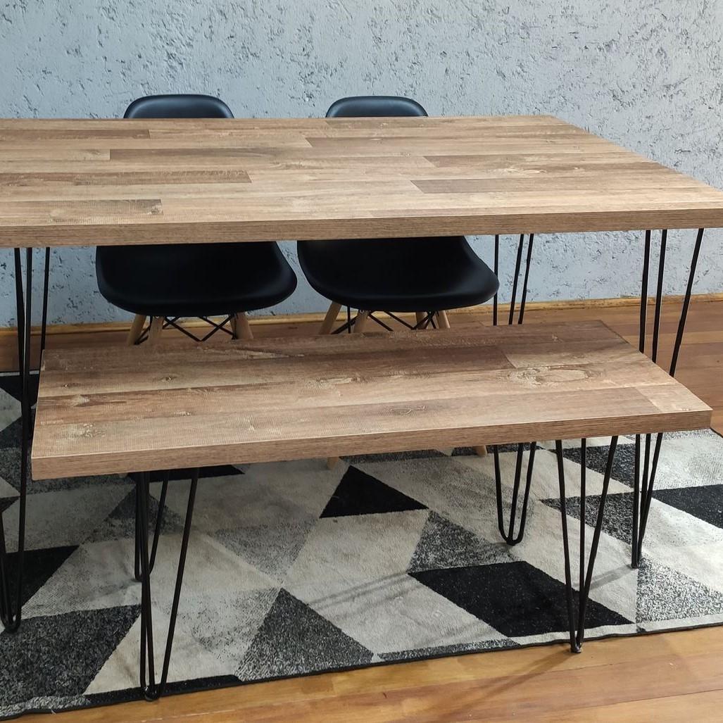 Mesa de Jantar 80X140 e Banco 40X95 Western com Hairpin Legs e Tampo 100% MDF  - Mtne Store