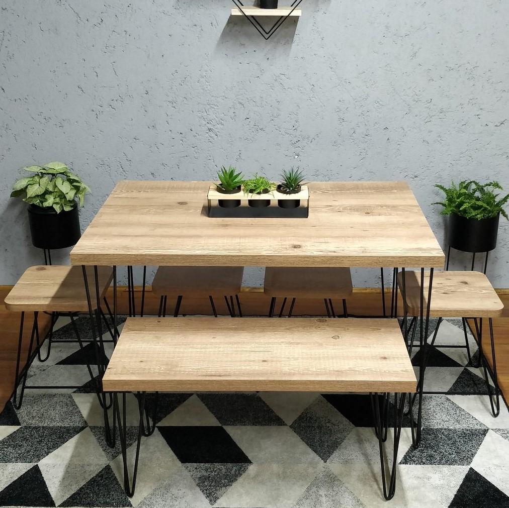 Mesa de Jantar Antiqua 80x140 com Hairpin Legs e Tampo 100% MDF (Não acompanham cadeiras)  - Mtne Store